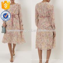 Новые мода обнаженная розовый Цветочный Рябить платье Миди оптом производство модной женской одежды (TA5268D)