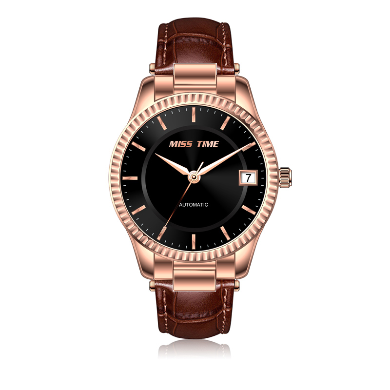 elegance brand leather band men watch