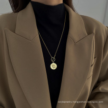 Hip-hop sweater chain street ins clavicle chain Korean style trendy head coin necklace