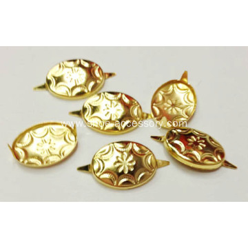 Gold Tone Metal Oval Nailheads 2 Prongs
