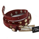 2013 Popular Red Studed Narrow Leather Belt For Woman
