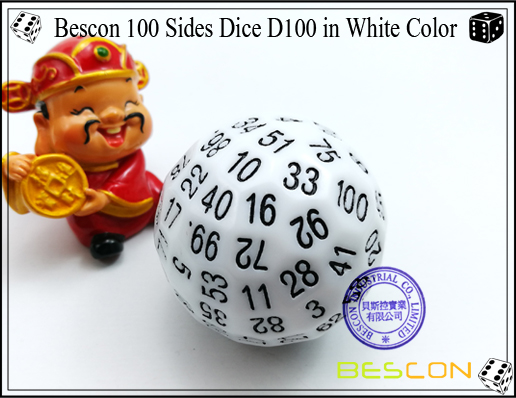 Bescon 100 Sides Dice D100 in White Color-2