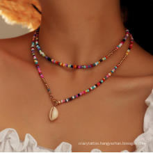 Bohemian Colorful Rainbow Beads Necklace Women Handmade Beaded Shell Double Layer Necklace