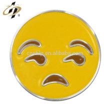Wholesale emoticon enamel custom metal sadly badge pins