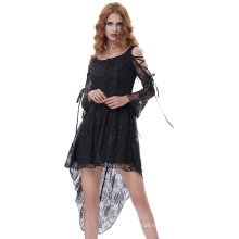 Belle Poque Vintage retro gótico victoriano de manga larga de alto-bajo negro vestido de encaje BP000350-1