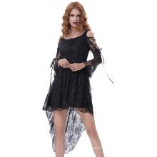 Belle Poque Retro Vintage Gothic Victorian Long Sleeve High-Low Black Lace Dress BP000350-1