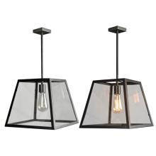 Retro decoration E27 vintage clear glass single black hanging pendant light for dinning room
