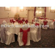 100 % polyester chaise housses, housses de chaise hôtel/banquet, ceinture en satin