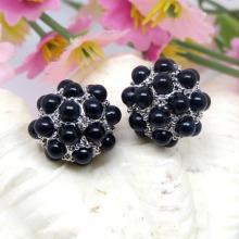 Boucles d'oreilles en perles noires bon marché de vente de mode