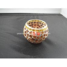 Candelero amarillo del Tealight del mosaico