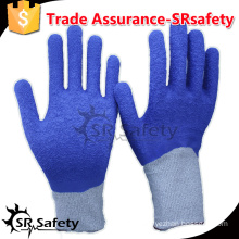 SRSAFETY 13 gauge crinkle blue latex cut resistant latex glove with level 5/Blue latex glove malaysia top gloves