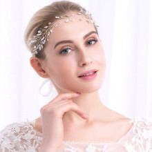 Handmade Designer Elastic Headband Luxury Hair Accessories Hairband Leaf Rhinestone Wedding Feast Party Bride for Women Girl