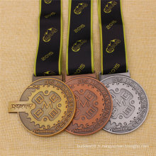 Médaille de bronze sur mesure en argent vieilli
