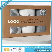 "Hot Sale 100% Organic Bamboo Muslin Swaddle 47x47"" in Gift Box"