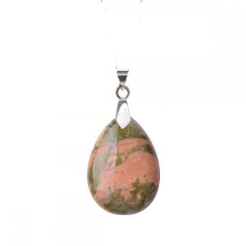 Natural Unakite 28x35MM Waterdrop Pendant Necklace with 45CM Silver Chain