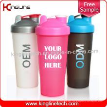 600ml Plastik-Protein-Shaker-Flasche mit Blender-Mixer Ball Inside (KL-7010)