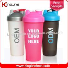 600ml Plastic Protein Shaker Bottle with Blender mixer Ball Inside (KL-7010)