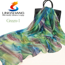 2015 HOT SALE!New design 140*140cm big size 100% pure silk muslim head scarf hijab digital printed beach shawl scarf
