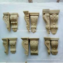 Mísulas de esculturas em madeira arquitectónica, apliques para mobiliário e armários