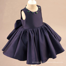 Purplish Blue Satin Crystal Flower Girl Gowns