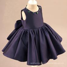 Пурпурно-Синий Атласная Кристалл Цветок Девочки Платья