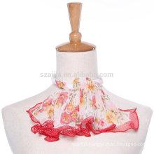 Fashion floral print polyester square silk chiffon neckwear scarf