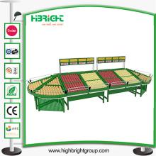 Estante de exhibición de almacenamiento de fruta y verdura de supermercado de acero inoxidable