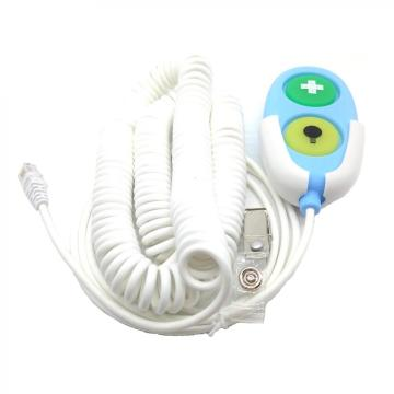 Nurse call button with curly cable
