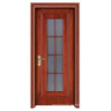 Puerta de madera sólida de la ventana de Galss con estilo