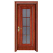 Stylish Galss Window Solid Wooden Door