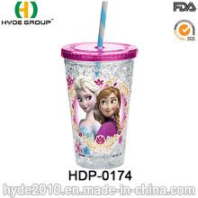 Taza plástica modificada para requisitos particulares del jugo de fruta de la pared doble con la paja (HDP-0174)