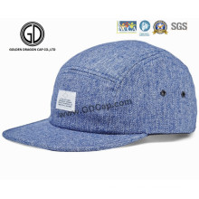 2016 Fermeture en nylon 5 panneaux Camper Strapback Denim Blue Cap