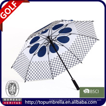28 polegadas 8 costelas guarda-chuva de golfe com copa dupla e saídas de ar.
