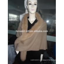 2017 diseño de moda de lujo de piel de zorro ajuste capucha capucha cachemira