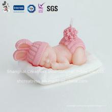 Rosa bebê menina vela criativa a dormir para chá de bebê