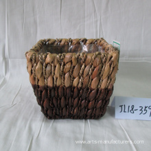 Customized for Seagrass Flower Plant Pot Hand Made Rectangular Water Hyacinth Flower Pot supply to Poland Factory