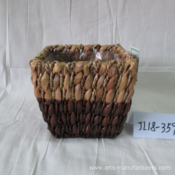 Reliable for Offer Outdoor Flower Pots,Small Flower Pots,Seagrass Flower Pot From China Manufacturer Hand Made Rectangular Water Hyacinth Flower Pot export to United States Manufacturers