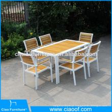 Mesa de jantar retangular de móveis de madeira teca ao ar livre e cadeira