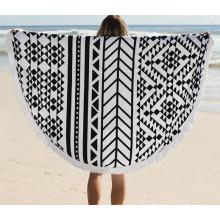 2016 горячие продажи хлопка круглое пляжное полотенце с кисточками