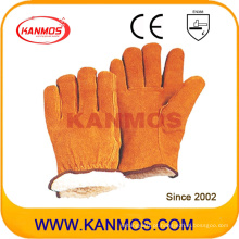 Yellow Cowhide Split Leather Industrial Hand Safety Warm Winter Work Glove (11302)