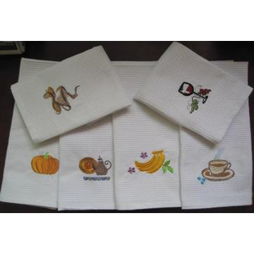 Applique Embroidery Luxe 3-Piece Wafel Thee Handdoek Set