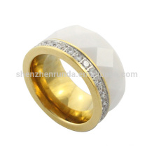 2014 fashion and high quality products IP Gold stainless steel CNC CZ stone rings for women and mens jewelry