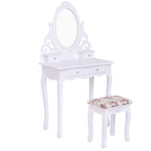 Rotating Oval Makeup Mirror Dresser cabinet Dressing vanity Table with Mirror Stool