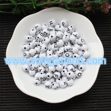 8MM Round Acrylic Plastic Alphabet Letter Ball Beads Charms