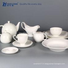 Nouveau produit blanc clair de lune assiette en porc en porc set blanc plaque de céramique belle porcelaine plats