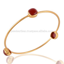 Red Onyx Gold Plated Fashion Bangle