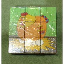 9PCS hölzernes sechs seiten Puzzlespiel-Block-Spielzeug für Kinder und Kinder