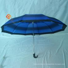 Zweifach J Stiel aus Polyester Falte Regenschirm (YS-2F1003A)