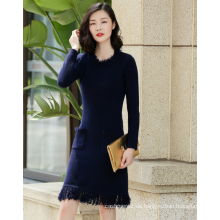 Dame reine Kaschmir-Pullover Kleid langen Ärmeln O-Ausschnitt In der reinen Kaschmir-Saum Quaste Duplex Sidekicks langes Kleid