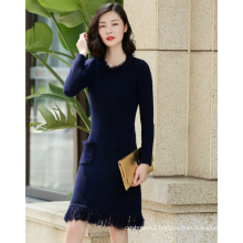 Lady's pure cashmere sweater dress long sleeves O neck In the pure cashmere hem tassel duplex sidekicks long dress